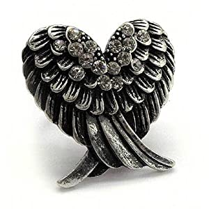 Beautiful LARGE Double Angel Wing Fashion Ring with Crystal Accents Adjustable Band Antique Silver Tone Comes Gift Boxed