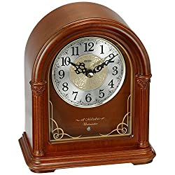 Seiko 'MANTEL-MUSICAL' Wood Shelf Clock, Color:Brown (Model: QXW244BLH)