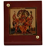 Diviniti 24Ct Gold Plated Foil Narasima Photo Frame 8.5cm X 7.5cm X 4.5cm, Maroon