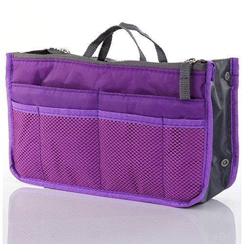 mona women multi pocket insert handbag purse organizer tidy bag for travel wi. Black Bedroom Furniture Sets. Home Design Ideas