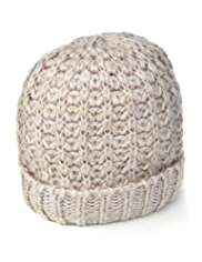 Metallic Effect Knitted Beanie Hat
