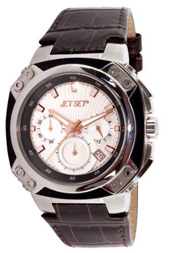 Jet Set J64113-636 - Reloj cronógrafo de cuarzo unisex, correa de cuero color marrón