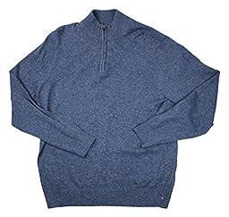 Perry Ellis Men\'s Quarter Zip Mock Neck Sweater, Night, Large