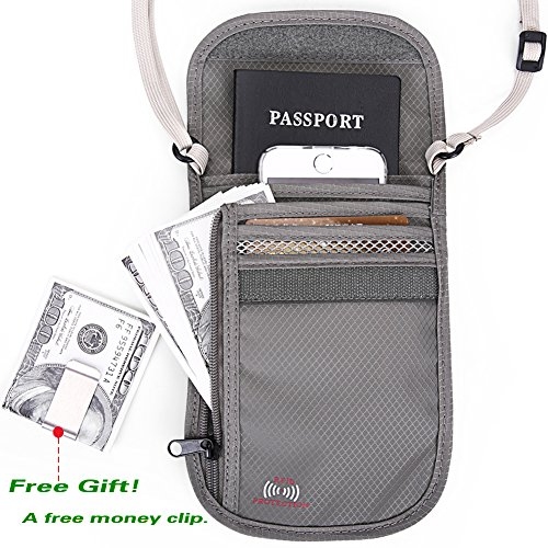 Passport Wallet - Travel Wallet with RFID Blocking for Security, Passport Holder (Gray)