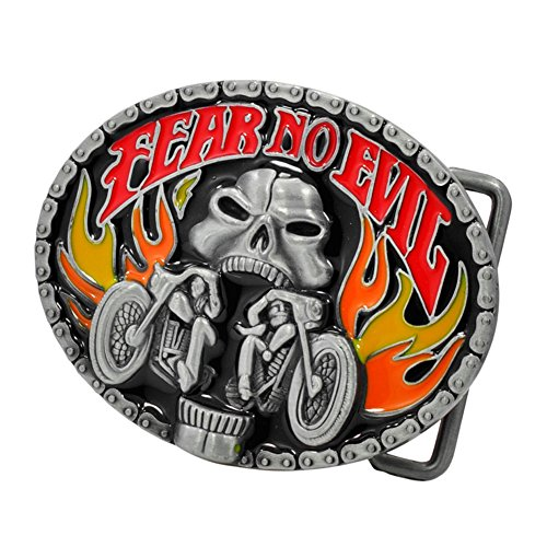 Buckle Rage Adult Mens Fear No Evil Biker Skull Motorcycle Fire Belt Buckle