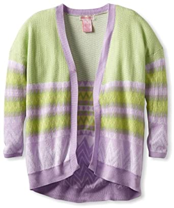 Design History Big Girls' Long Sleeve Cardigan, Spring Green Combo, Small
