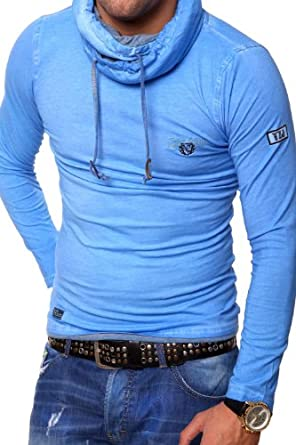 Tazzio Longsleeve Highck Vintage T-Shirt 4100 [Blau, S]