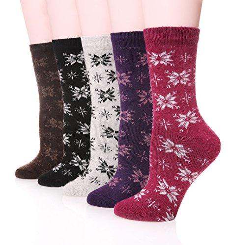 SDBING Women Extra Thick Heavyweight Merino Wool Socks Soft Socks,5-Pack (Snow) (Extra Thick Womens Socks compare prices)