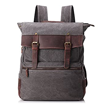 ZEKAR Vintage Waxed Canvas Leather Backpack, Multipurpose Daypacks