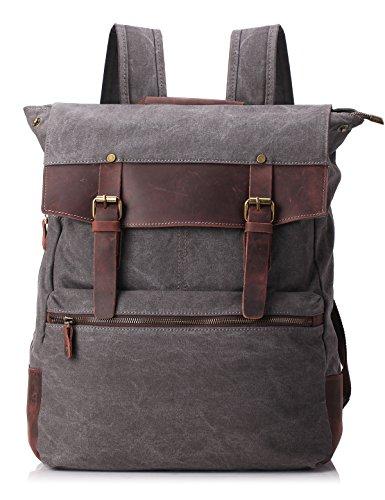 ZEKAR Vintage Waxed Canvas Leather Backpack, Multipurpose Daypacks 0
