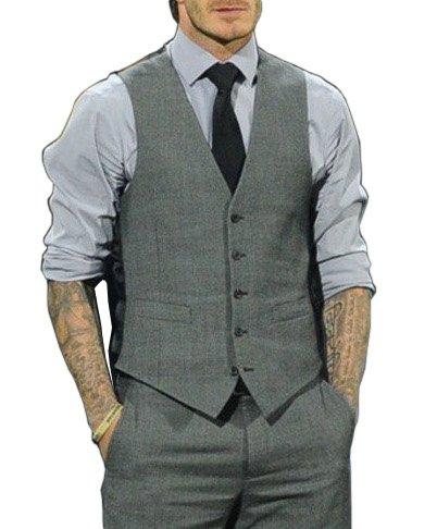 (JOY JOY JOIN) スリムフィット 英国風 フロント&バック デザイン ベスト 5B サロン系 キレイめ きれいめ メンズ グレー【OEM オリジナル】 (XL)