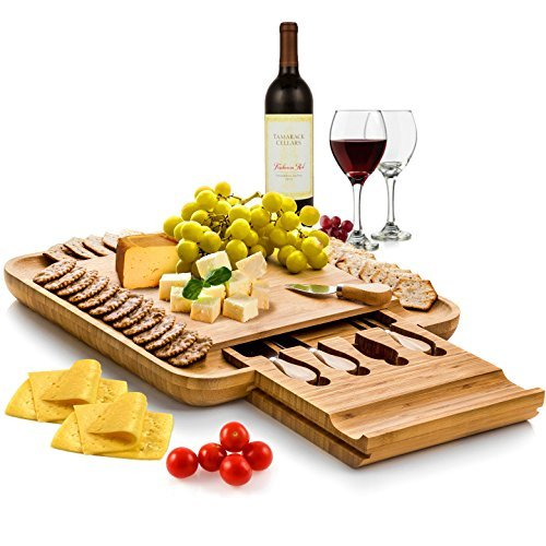 Bambüsi by Belmint 100% Natural Bamboo Cheese Board & Cutlery Set with Slide-Out Drawer (Cheese Board compare prices)