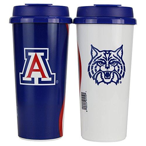 "NCAA ""Wave"" Full Color Plastic 16oz Travel Mug 2 Pack (Arizona Wildcats)"