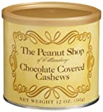 The Peanut Shop of Williamsburg Chocolate Covered Cashews, 12-Ounce Tin