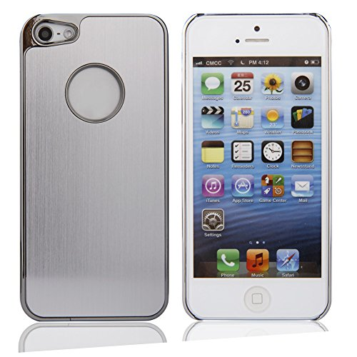 Luxury Brushed Metal Aluminum Chrome Hard Back Case Cover +Lcd Screen Protector+Stylus For Iphone5 Iphone5S(Silver)