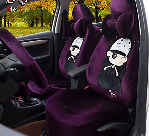 Universal 1 Set Car Seat Covers 18pcs Lovely Purple Princess Push Fashion Cartoon Car Seat Covers Gear Shift Cover (Princess Car Steering Wheel Cover compare prices)