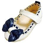 キッズ シューズ 蝶々 リボン フラット ヒール パンプス 子供 靴 (14.5cm, ホワイト)