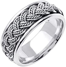 Titanium amp Sterling Silver Hand Braided Wedding Ring Band for Women Sizes 4 - 9