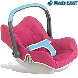 Smoby Maxi Cosi Autositz für Puppen bis 42 cm , mit Tragebügel und Staufach || Puppen Tragesitz Babyschale für Baby Born etc.