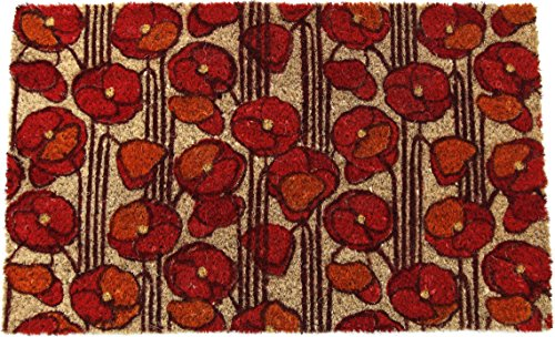 Entryways Non Slip Coir Doormat, 17-Inch by 28-Inch, Poppies