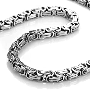 Amazon.com: Stainless Steel Mechanic Style Mens Necklace Silver Chain: Jewelry