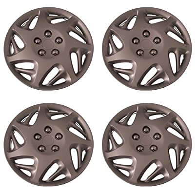 Set of 4 Silver 16 Inch Aftermarket Replacement Hubcaps with Clip Retention System - Part Number: IWCB8059/16S