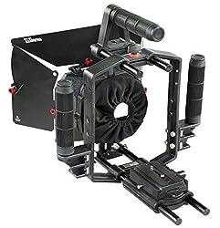 Filmcity(FC-65-N) New Updated Power Series Video Camera Cage 65- N with Sun hood Matte Box DSLR DV Dual Grip Support Handle Nikon Canon Sony Panasonic Lumic Blackmagic Cinema camera