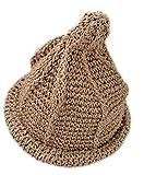 【Yuson Girl】折りたためる 麦わら帽子 風 とんがり帽子 エコアンダリア を使った 軽くて かわいい 手編み 帽子 (カーキ)