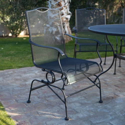 Discount Woodard Stanton Wrought Iron Coil Spring Dining Chair Set of 2 T