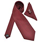 Pensee Mens Ties 100% Jacquard Woven Red & Black Stripes Necktie Set