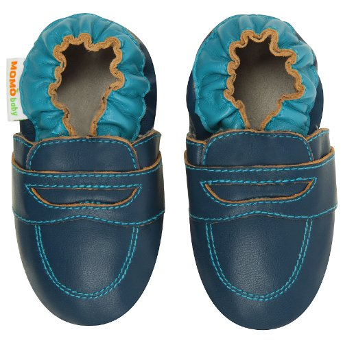 Momo Baby Infant/Toddler Penny Loafer Navy Soft Sole Leather Shoes - 12-18 Months/4.5-5.5 M Us Toddler front-979520