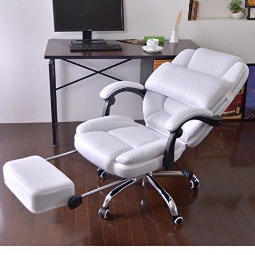 タンスのゲン 170度の無段階リクライニング&足置き付き サポートクッション オフィスチェア メッシュ リクライニング シエスタ ホワイト 65090075 WH
