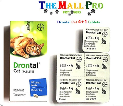 Bayer Drontal for Cat Allworms,Tap Worm and Round Worm , 4+1 Tablets   (Products packed in Black Box)