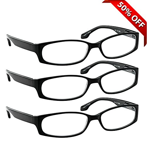 Reading Glasses - 3 Pack - Always Have Crystal ClearVision Everywhere You Need It! Stylish Look with Sure-Flex Comfort Spring Arms & Dura-Tight Screws - 180 Day Guarantee +4.50 (Readers 450 compare prices)