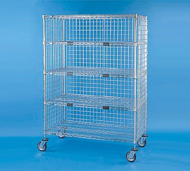 """Nexel Xs560Ep Exchange And Linen Transport Truck, Standard Duty, 5 Wire Shelves, Three Sided Enclosed, 24"""" Width X 60"""" Length X 69"""" Height, 1200 Lb Capacity, Chrome Plated Finish, Chrome"""