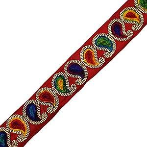 Hecho a mano de la tela del ajuste del diseño de Paisley étnica Encaje Sew vestido Fronteriza de cinta por la yarda de indianbeautifulart