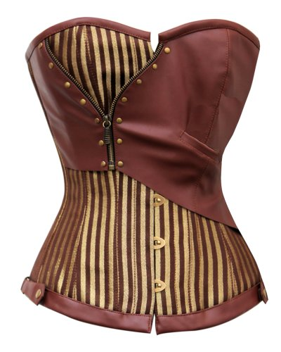 Steampunk - Brown and Gold Striped Overbust Corset with Pocket Watch - 32