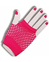 Forum Novelties Women's Hot Pink Fishnet Fingerless Gloves
