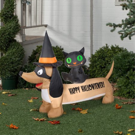 [Gemmy Airblown Dachshund Halloween Decoration for Easy Outdoor Setup] (Poseidon Greek God Costume)