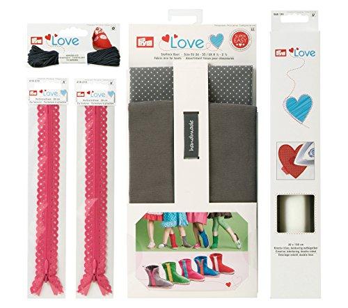 Prym Love 651809 lenzuola a stivaletti - Espadrilles creativo filo, decorazione-cerniere, creativo-in tessuto non tessuto, grigio