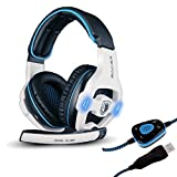 Sades SA-903 Stereo 7.1 Surround Professional USB Gaming Headphone Headset with Mic Headband Black & White (Color: SA903White)