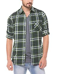 Prym Men's Casual Shirt (8907423014190_2011507701_X-Large_Green and Navy)