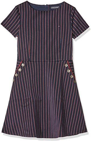 Tommy Hilfiger Pinstripe Dress S/S, Vestito Bambina, Blau (NAVY BLAZER 431), (taglia Produttore: 12)
