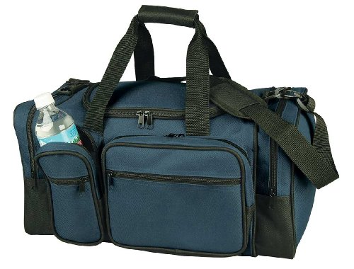 "19"" Deluxe Sports Duffle Bag W/ Multiple Pockets In Navy Blue"