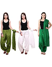 Fashion Store Combo Of Womens Solid Cotton Dark Green,White And Green Best Ethnic Comfort Punjabi Patiala Salwar...