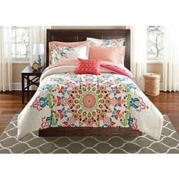 Mainstays Medallion Bed-in-a-Bag Bedding Set Size: Full