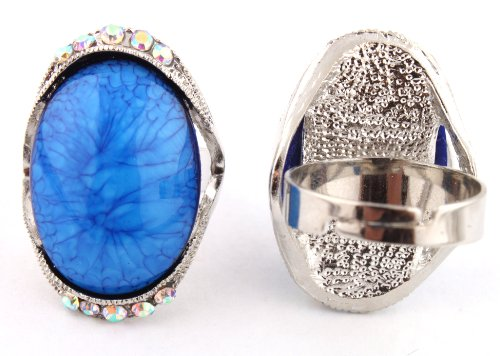 Ladies Silver with Blue Oval Abstract Pattern Center with Surrounding Clear AB Stones Metal Adjustable Finger Ring