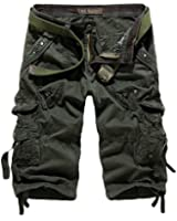 HEMOON Mens Military Style Twill Cargo Shorts Quick-dry Summer Shorts (WITHOUT BELT)