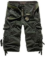 HEMOON Raw Vintage Homme Cargo Shorts 3/4 pantalon court Shorts d'ete (SANS CEINTURE)