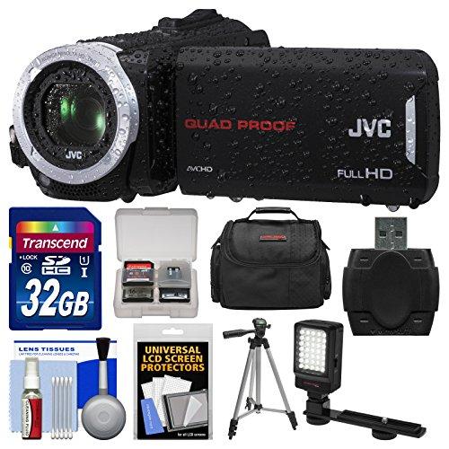 Jvc Everio Gz-R30 Quad Proof Full Hd Digital Video Camera Camcorder With 32Gb Card + Case + Led Light + Tripod + Kit